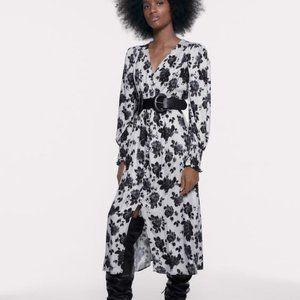 NWT ZARA BUTTONED PRINT DRESS